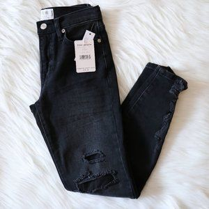 Free People Black Distressed High Rise Jeans Sz 25